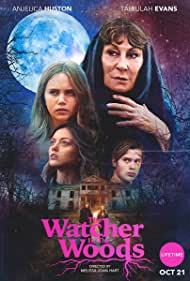 Anjelica Huston, Tallulah Evans, and Dixie Egerickx in The Watcher in the Woods (2017)