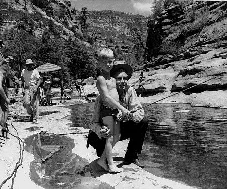 """On location at Oak Creek in Arizona during filming of """"Drum Beat"""""""