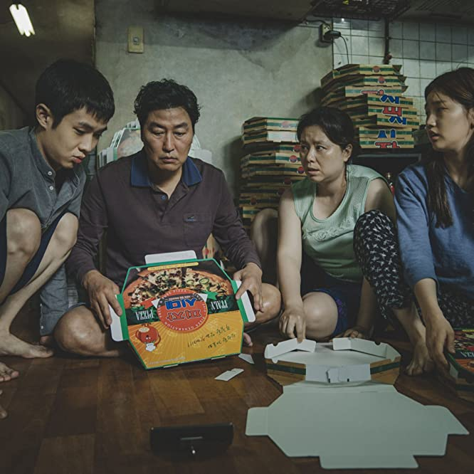 Kang-ho Song, Hye-jin Jang, Woo-sik Choi, and So-dam Park in Parasite (2019)