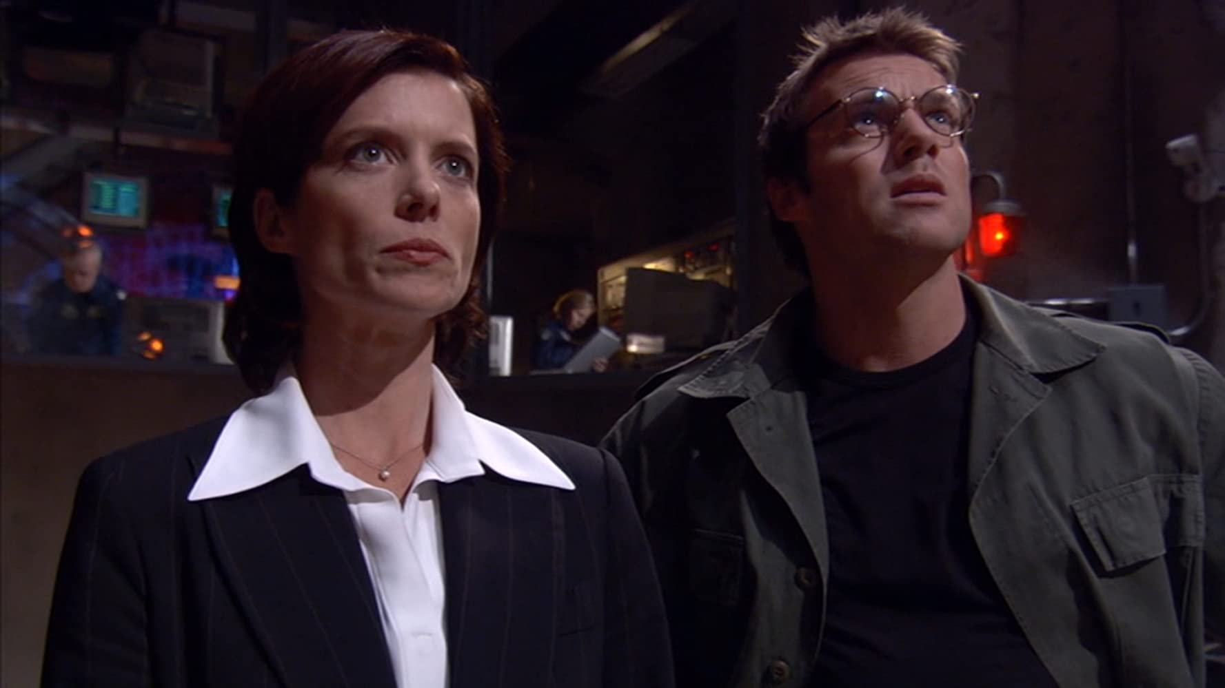 Torri Higginson and Michael Shanks in Stargate SG-1 (1997)