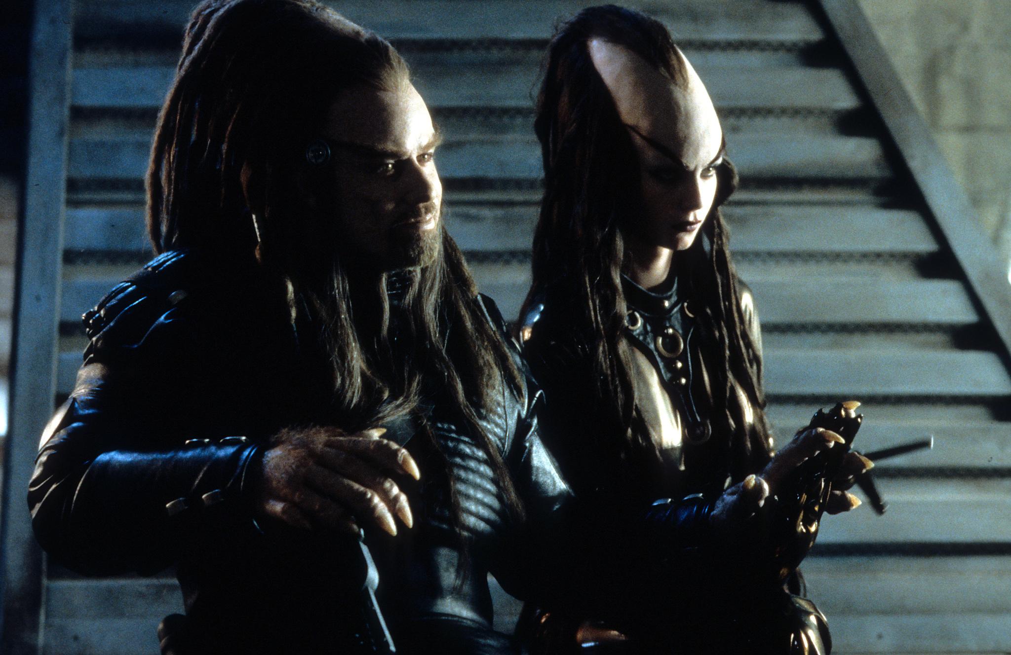 John Travolta and Kelly Preston in Battlefield Earth (2000)
