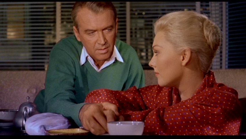 James Stewart and Kim Novak in Vertigo 1958