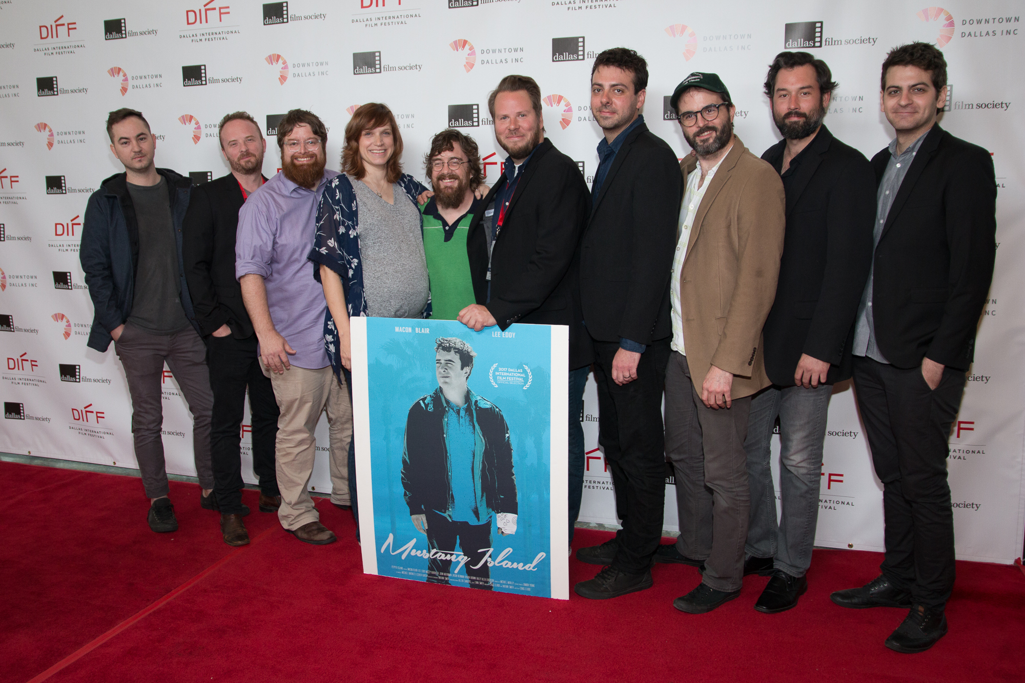 Macon Blair, John Merriman, Jason Newman, Lee Eddy, Craig Elrod, Nathan Smith, Michael Bartnett, Evan Smith, Michael Mobley, and Ben Prosser at an event for Mustang Island (2017)