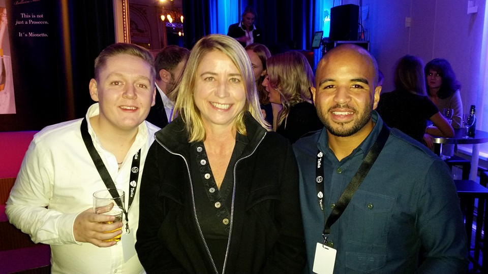 Thomas Turgoose, Charlotta Hansen and Andrew Shim at the Stockholm Film Festival in 2016