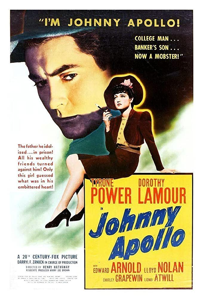 Tyrone Power and Dorothy Lamour in Johnny Apollo (1940)