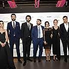 Kerem Çatay, Ceren Moray, Engin Akyürek, Kerem Deren, Farah Zeynep Abdullah, Serra Keskin, and Onur Tuna at an event for Bi Küçük Eylül Meselesi (2014)