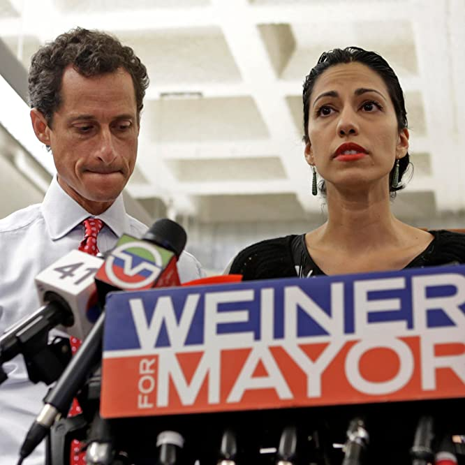Anthony Weiner and Huma Abedin in Weiner (2016)