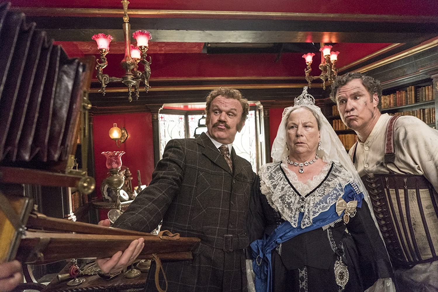 John C. Reilly, Will Ferrell, and Pam Ferris in Holmes & Watson (2018)