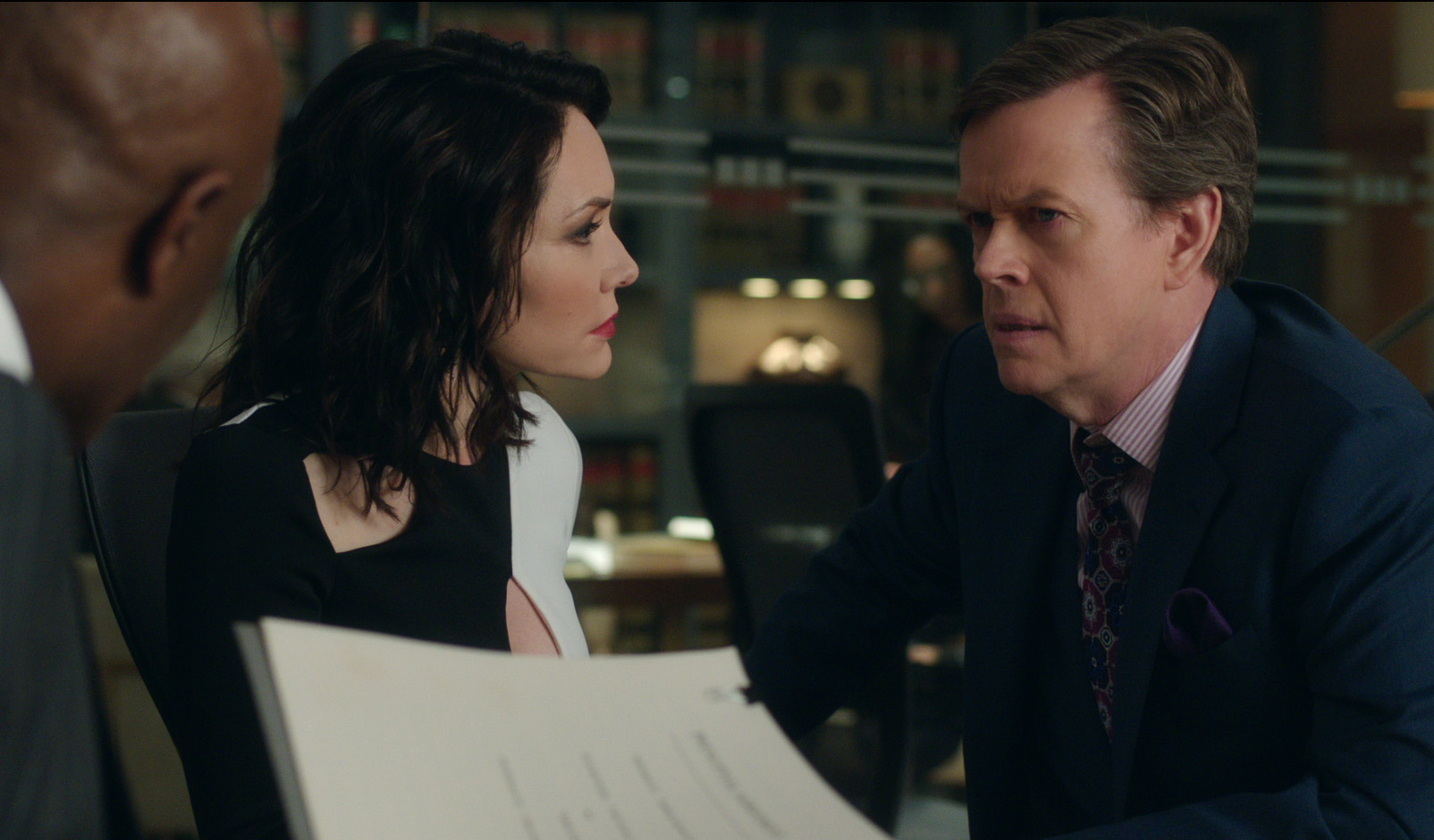 """""""Day 471"""" -- Episode 210 -- Pictured (l-r): Katrina Lenk as Naftali Amado; Dylan Baker as Colin Sweeney; of the CBS All Access series THE GOOD FIGHT."""