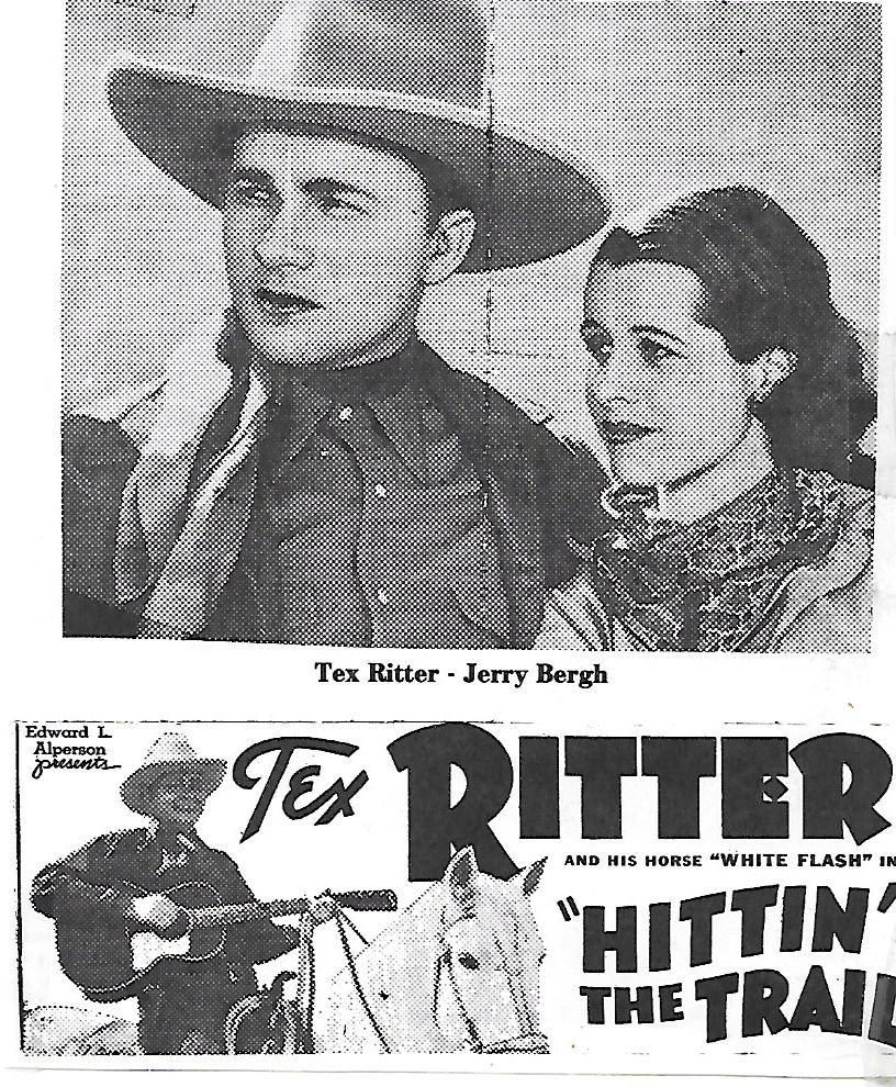 Jerry Bergh and Tex Ritter in Hittin' the Trail (1937)