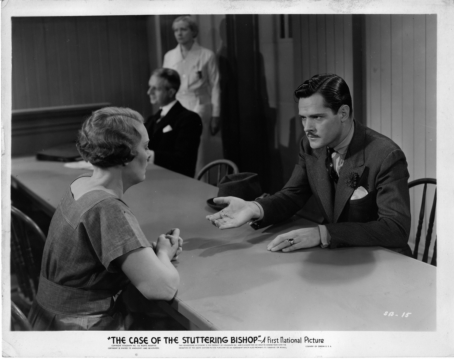 Mira McKinney and Donald Woods in The Case of the Stuttering Bishop (1937)