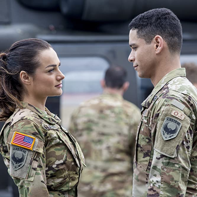 Charlie Barnett and Christina Ochoa in Valor (2017)