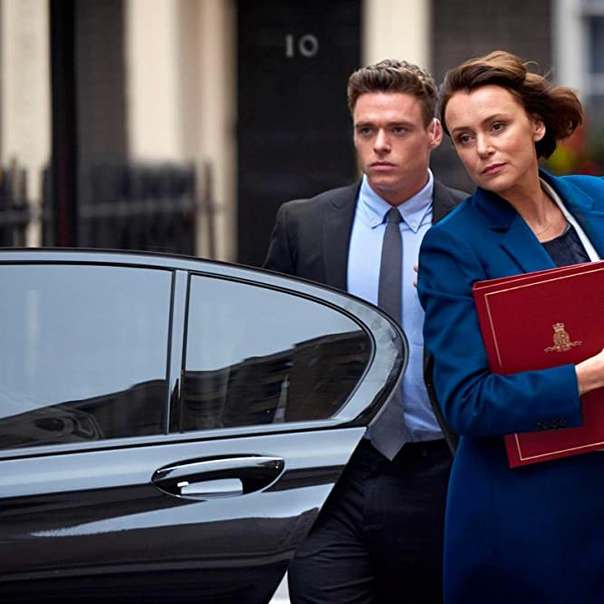 Keeley Hawes and Richard Madden in Bodyguard (2018)