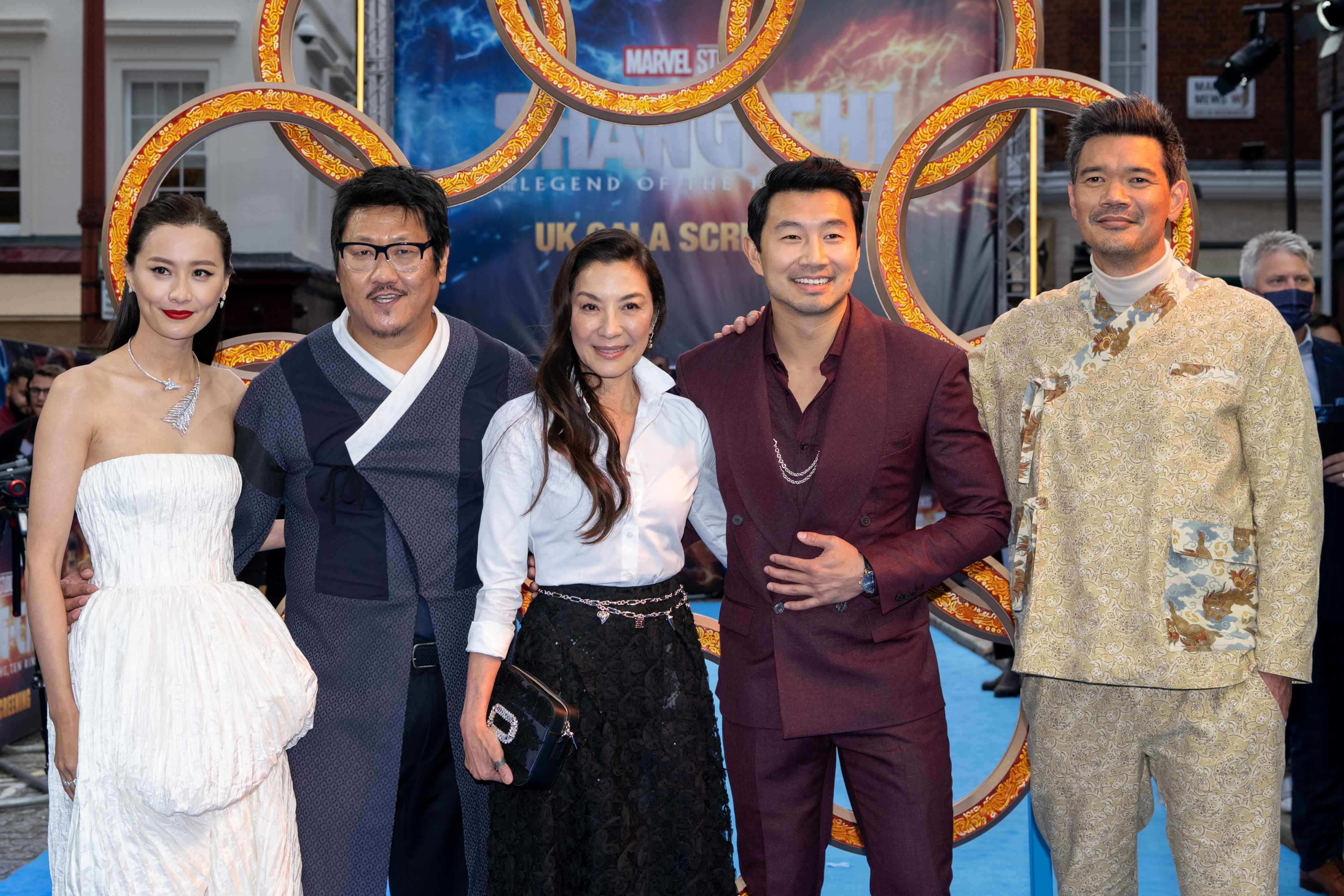 Michelle Yeoh, Benedict Wong, Destin Daniel Cretton, Fala Chen, and Simu Liu at an event for Shang-Chi and the Legend of the Ten Rings (2021)