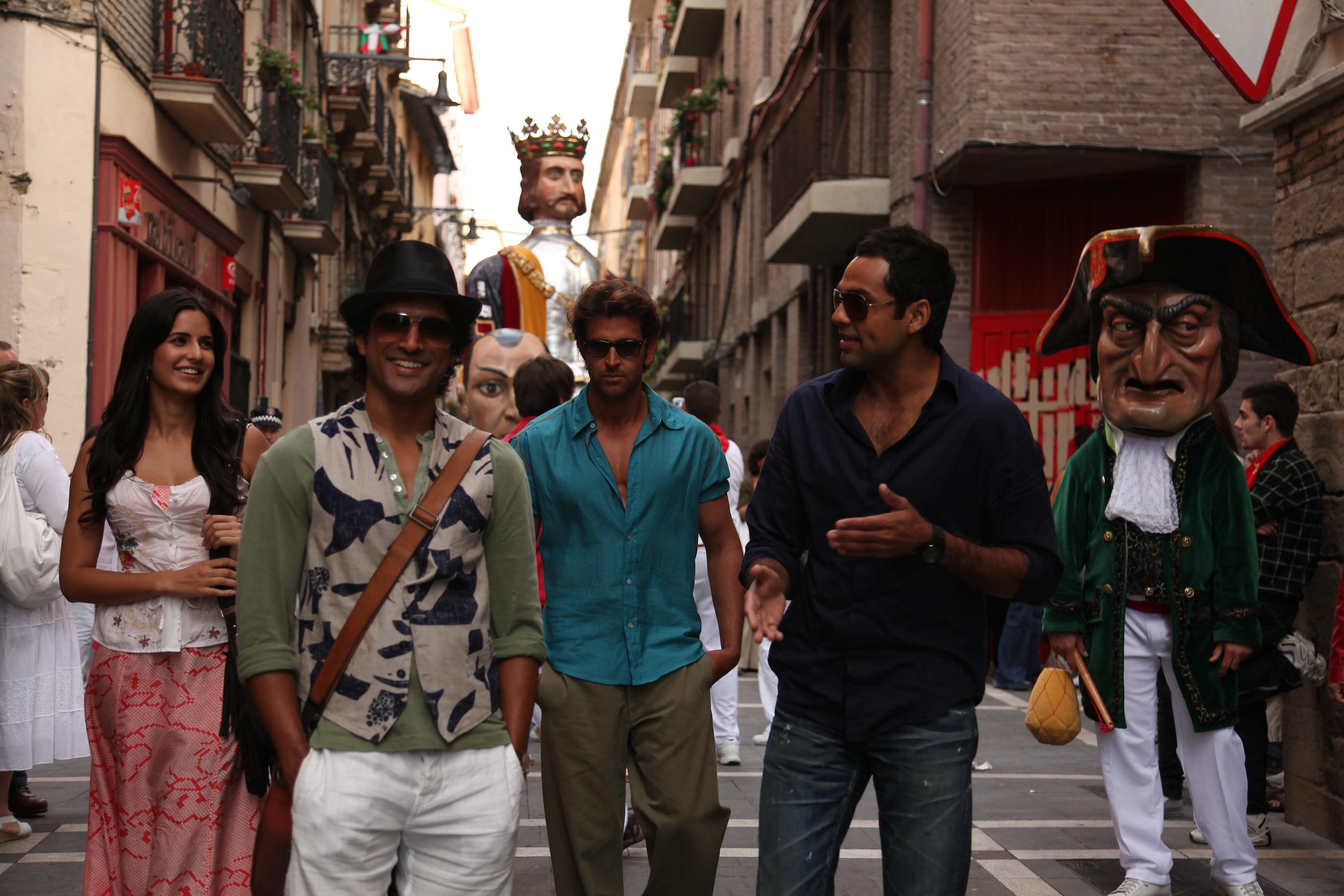 Hrithik Roshan, Farhan Akhtar, Katrina Kaif, and Abhay Deol in Zindagi Na Milegi Dobara (2011)