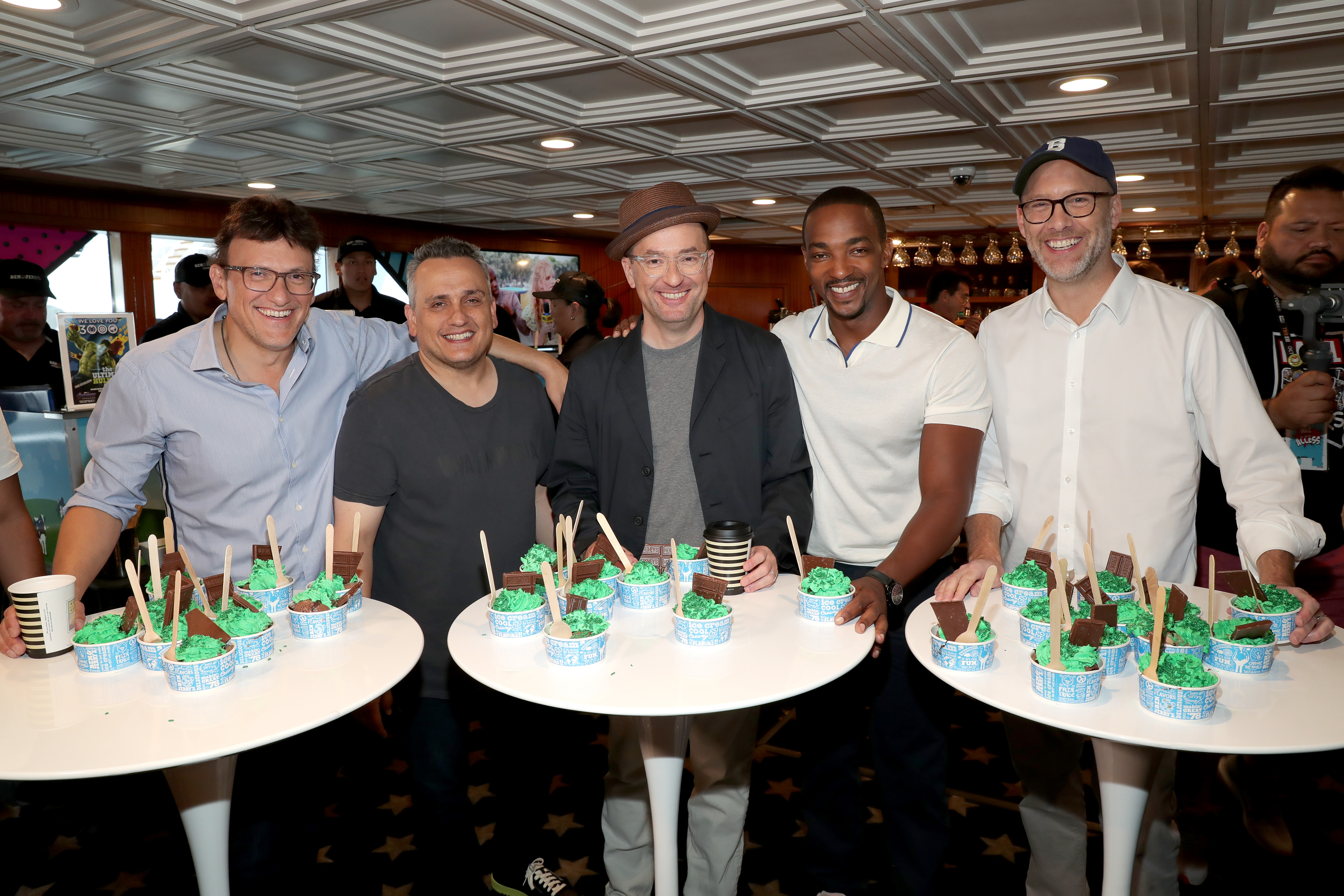 Anthony Russo, Joe Russo, Anthony Mackie, Christopher Markus, and Stephen McFeely at an event for IMDb at San Diego Comic-Con (2016)