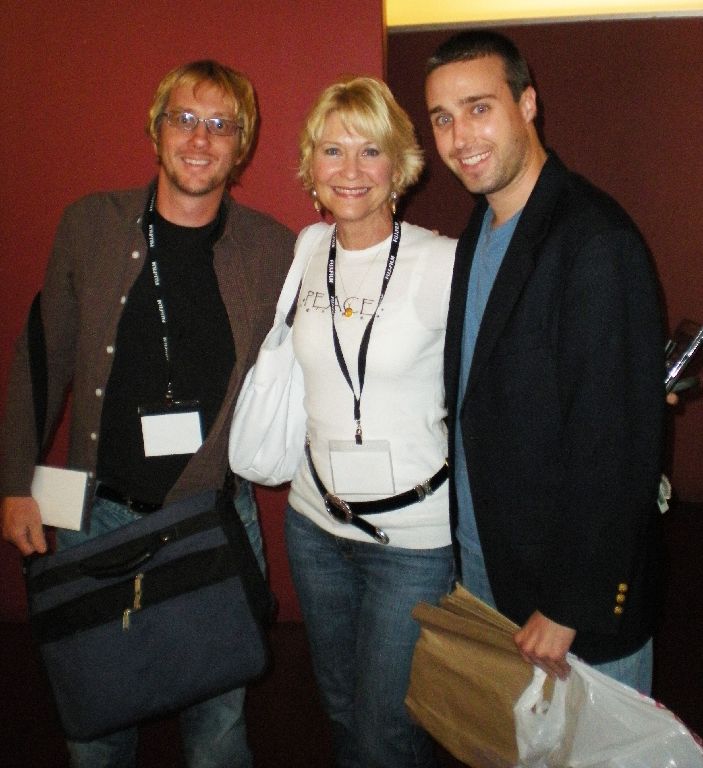Randy Kent (L) and Hans Hernke (R) with actress Dee Wallace at the Feel Good Film Festival.