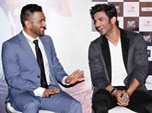 Mahendra Singh Dhoni and Sushant Singh Rajput at an event for M.S. Dhoni: The Untold Story (2016)