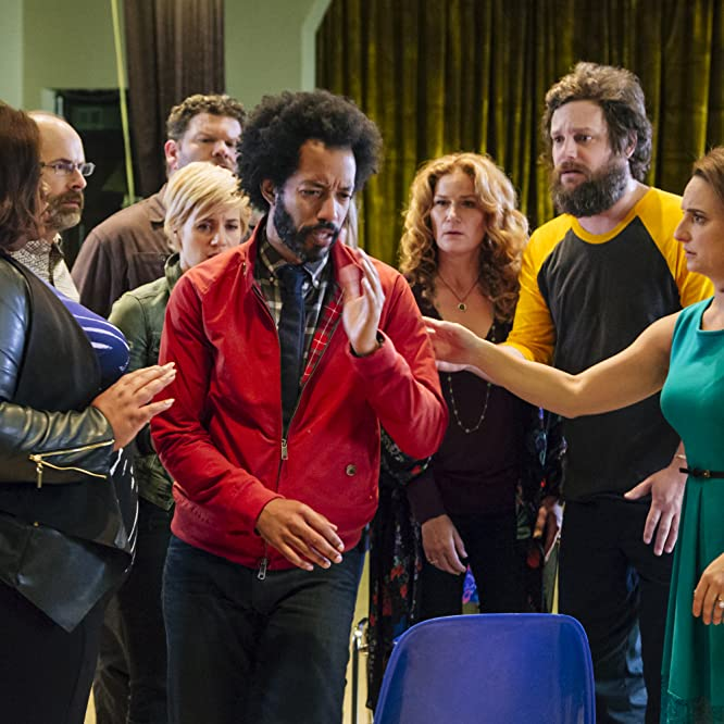 Ana Gasteyer, Daniel Stewart Sherman, Brian Huskey, Wyatt Cenac, Tracee Chimo, Alice Wetterlund, Luka Jones, and Da'Vine Joy Randolph in People of Earth (2016)