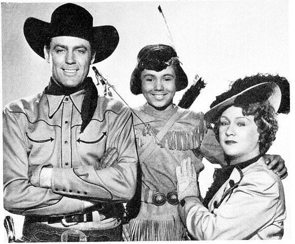 Robert Blake, Allan Lane, and Martha Wentworth in Vigilantes of Boomtown (1947)