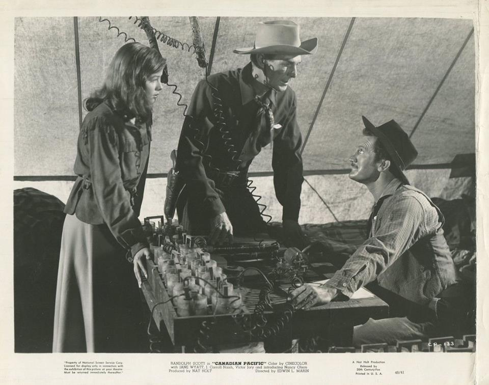 Randolph Scott and Nancy Olson in Canadian Pacific (1949)