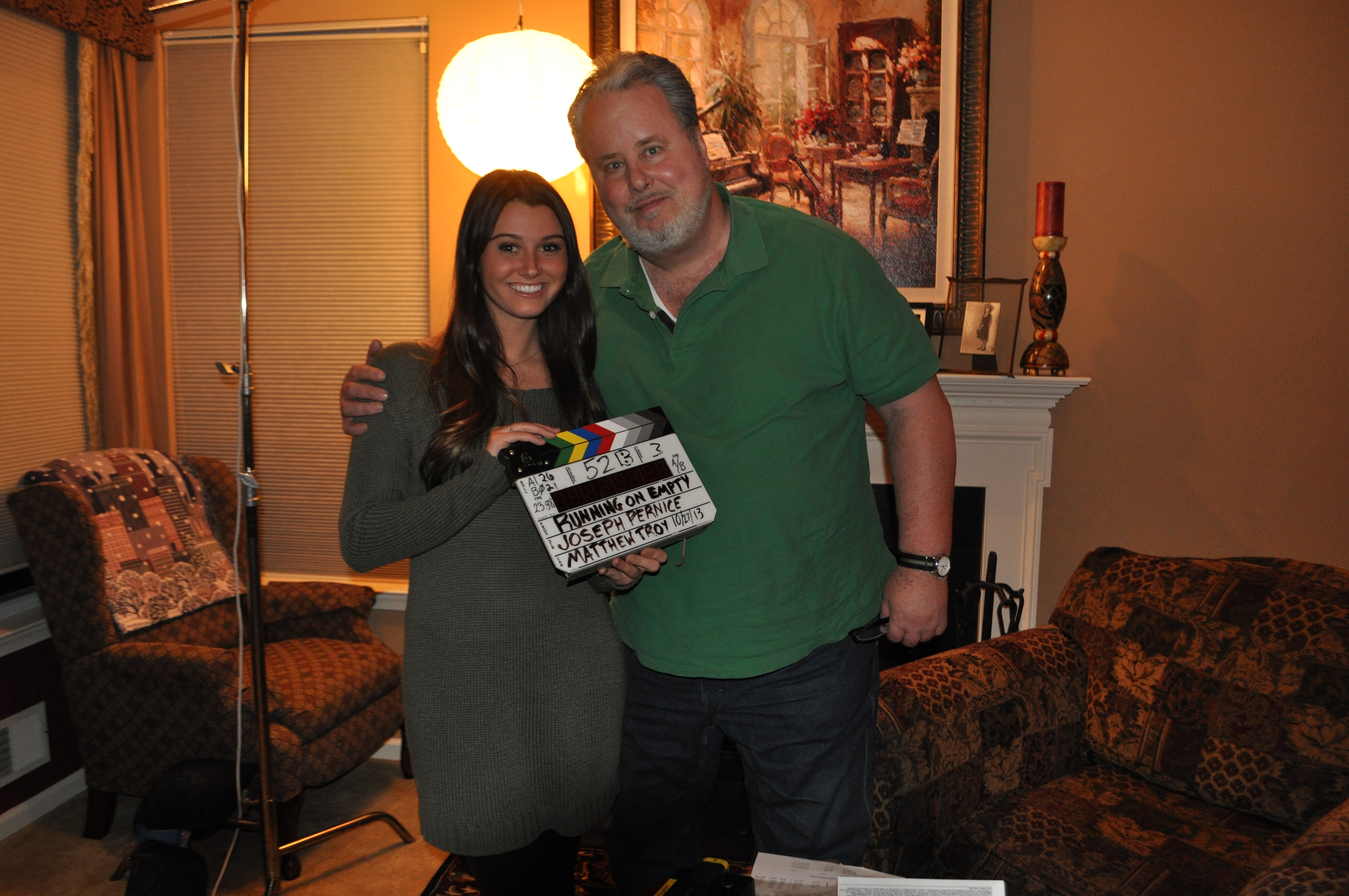 "Courtney Baxter and Adam LeFevre on the set of ""Running on Empty"" October 2013"