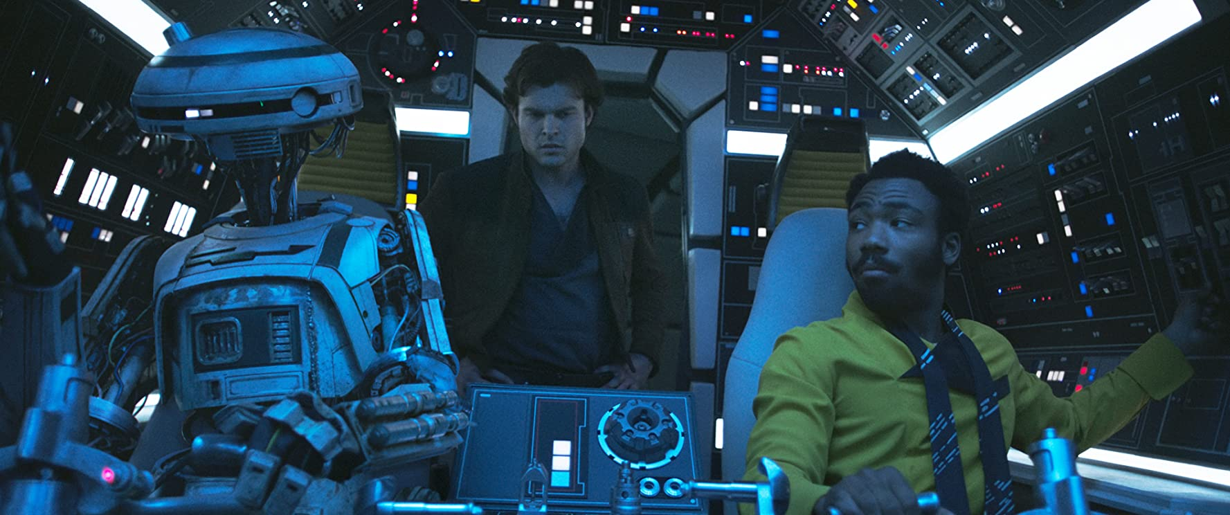 Donald Glover, Alden Ehrenreich, and Phoebe Waller-Bridge in Solo: A Star Wars Story (2018)
