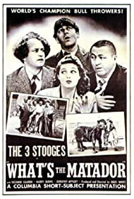 Moe Howard, Larry Fine, Curly Howard, and Suzanne Kaaren in What's the Matador? (1942)