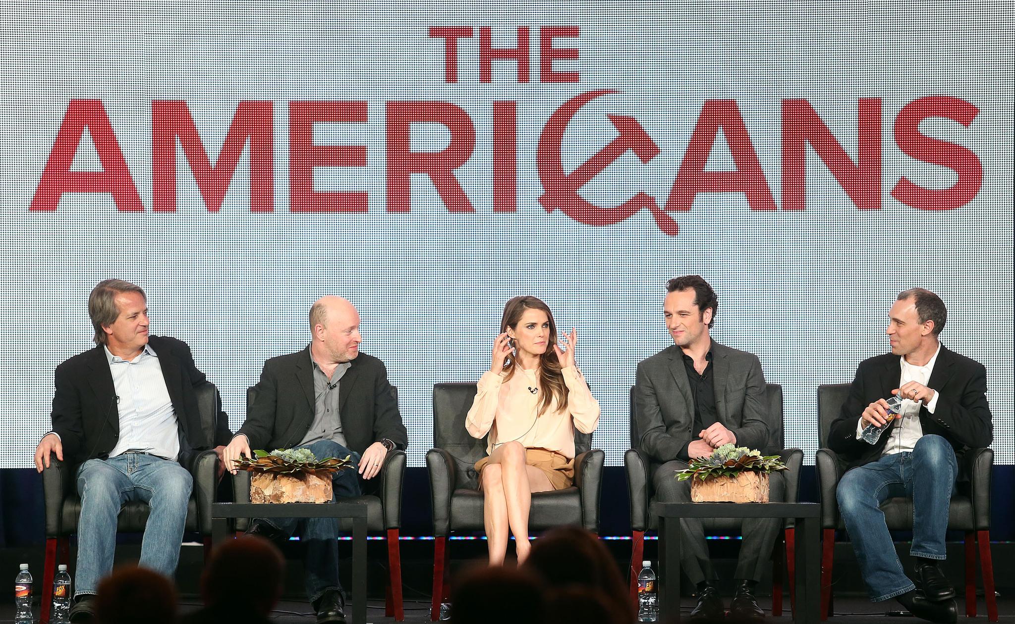 Graham Yost, Keri Russell, Joel Fields, Matthew Rhys, and Joseph Weisberg at an event for The Americans (2013)