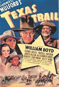 Judith Allen, William Boyd, Russell Hayden, George 'Gabby' Hayes, and Billy King in Texas Trail (1937)
