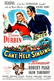 Deanna Durbin, Leonid Kinskey, Robert Paige, and Akim Tamiroff in Can't Help Singing (1944)