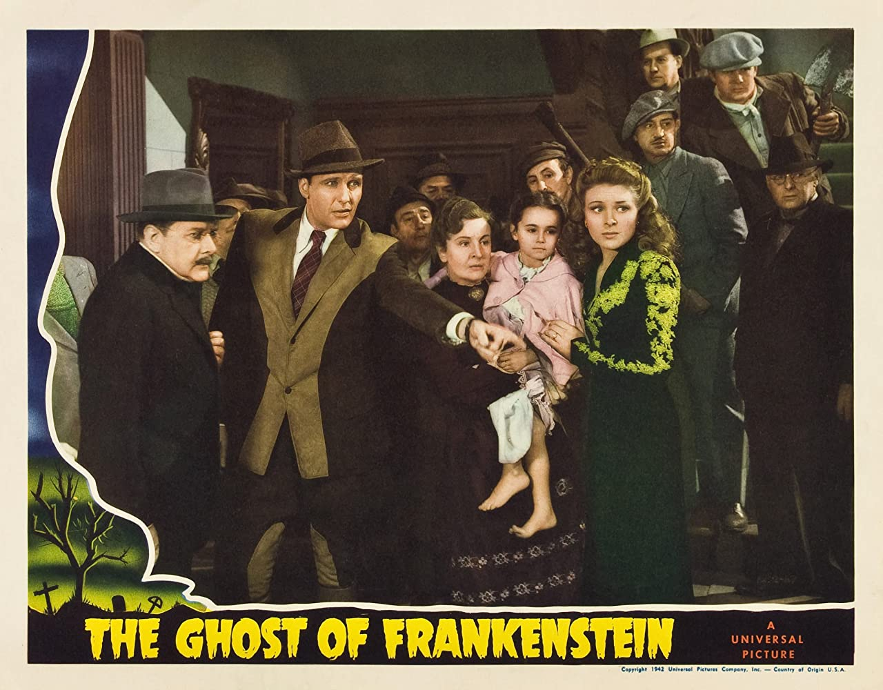 Ralph Bellamy, Evelyn Ankers, Janet Ann Gallow, Olaf Hytten, and Doris Lloyd in The Ghost of Frankenstein (1942)