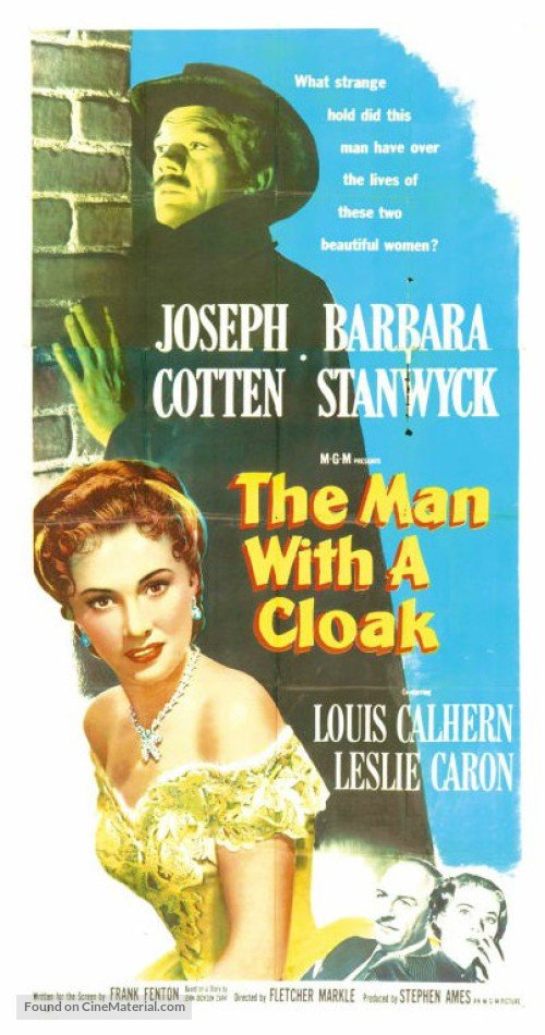 Joseph Cotten, Barbara Stanwyck, Leslie Caron, and Louis Calhern in The Man with a Cloak (1951)