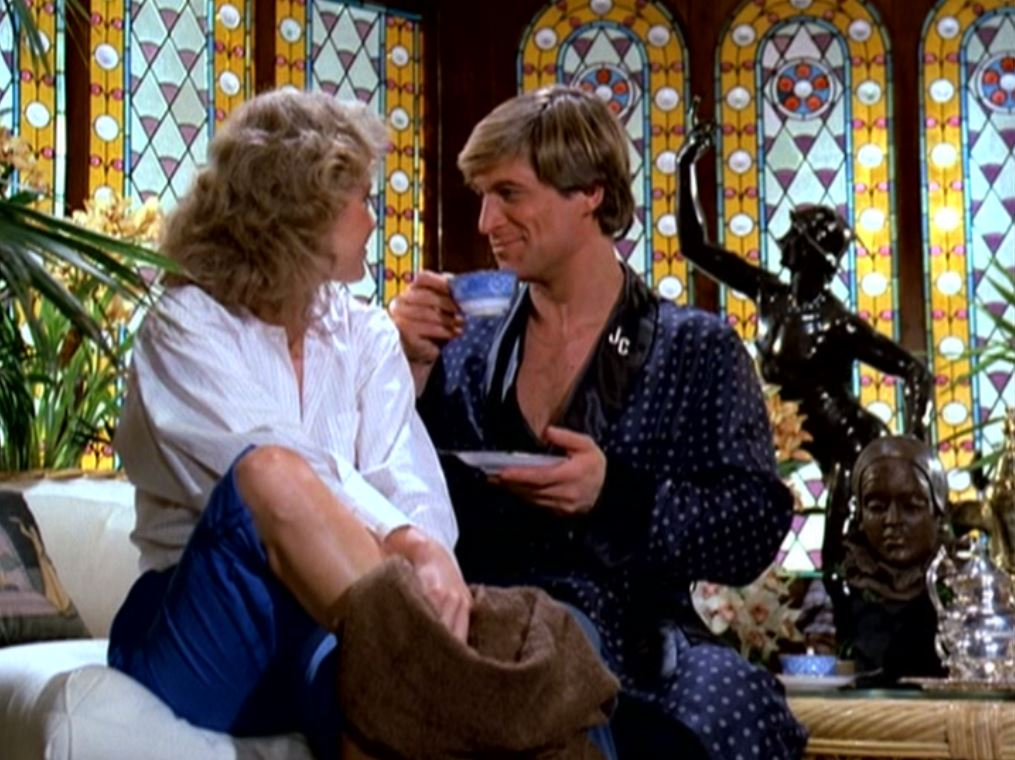 Melody Anderson and Simon MacCorkindale in Manimal (1983)