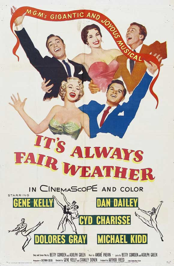 Gene Kelly, Cyd Charisse, Dan Dailey, Dolores Gray, and Michael Kidd in It's Always Fair Weather (1955)