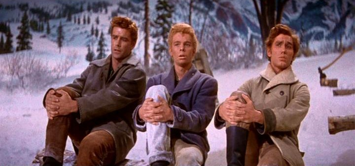 Tommy Rall, Jeff Richards, and Russ Tamblyn in Seven Brides for Seven Brothers (1954)