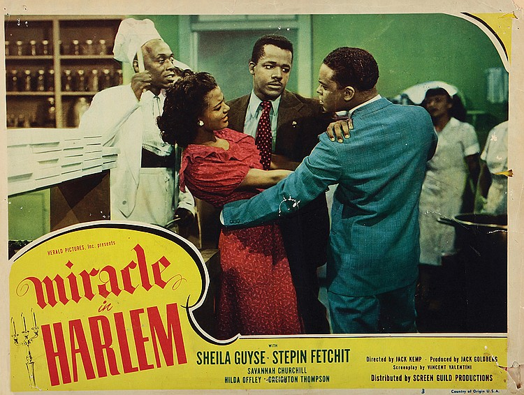 Stepin Fetchit, Kenneth Freeman, William Greaves, and Sheila Guyse in Miracle in Harlem (1948)