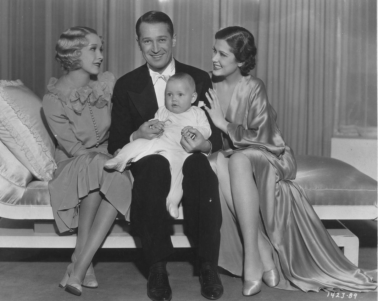 Maurice Chevalier, Baby LeRoy, Leah Ray, and Helen Twelvetrees in A Bedtime Story (1933)