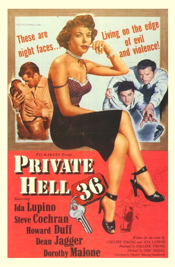 Howard Duff, Steve Cochran, and Ida Lupino in Private Hell 36 (1954)