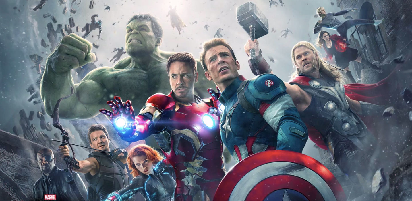 Samuel L. Jackson, Robert Downey Jr., Paul Bettany, Chris Evans, Scarlett Johansson, Elizabeth Olsen, Jeremy Renner, Mark Ruffalo, Aaron Taylor-Johnson, and Chris Hemsworth in Avengers: Age of Ultron (2015)