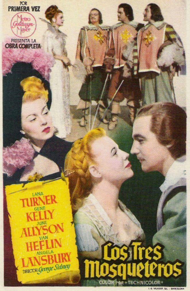 Gene Kelly, June Allyson, Van Heflin, Angela Lansbury, Lana Turner, Robert Coote, and Gig Young in The Three Musketeers (1948)