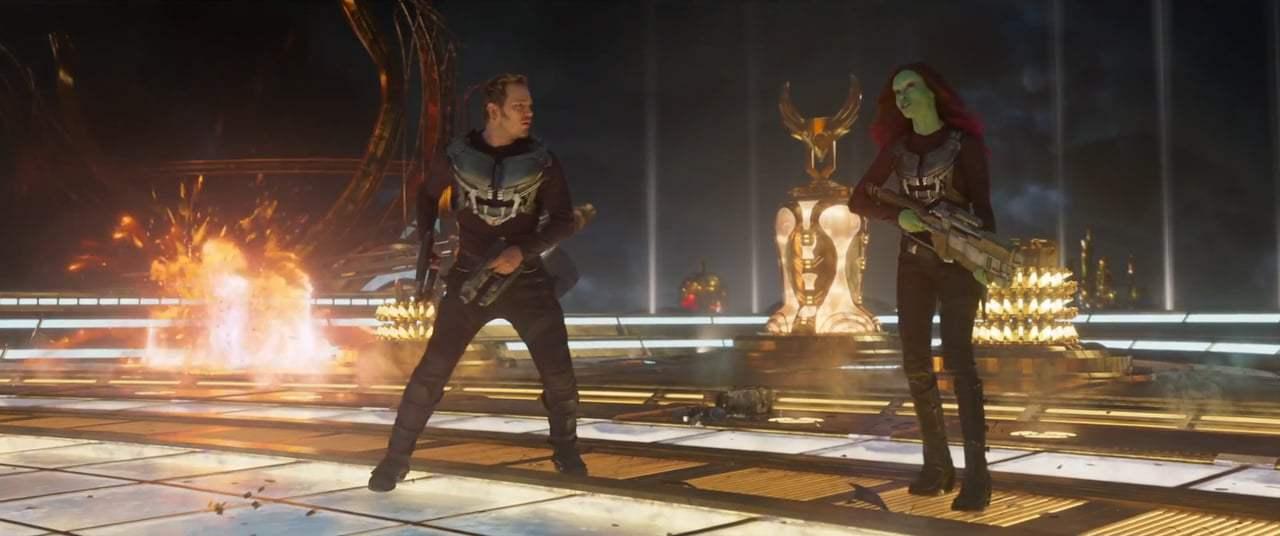 Chris Pratt dan Zoe Saldana dalam Guardians of the Galaxy Vol. 2 (2017)