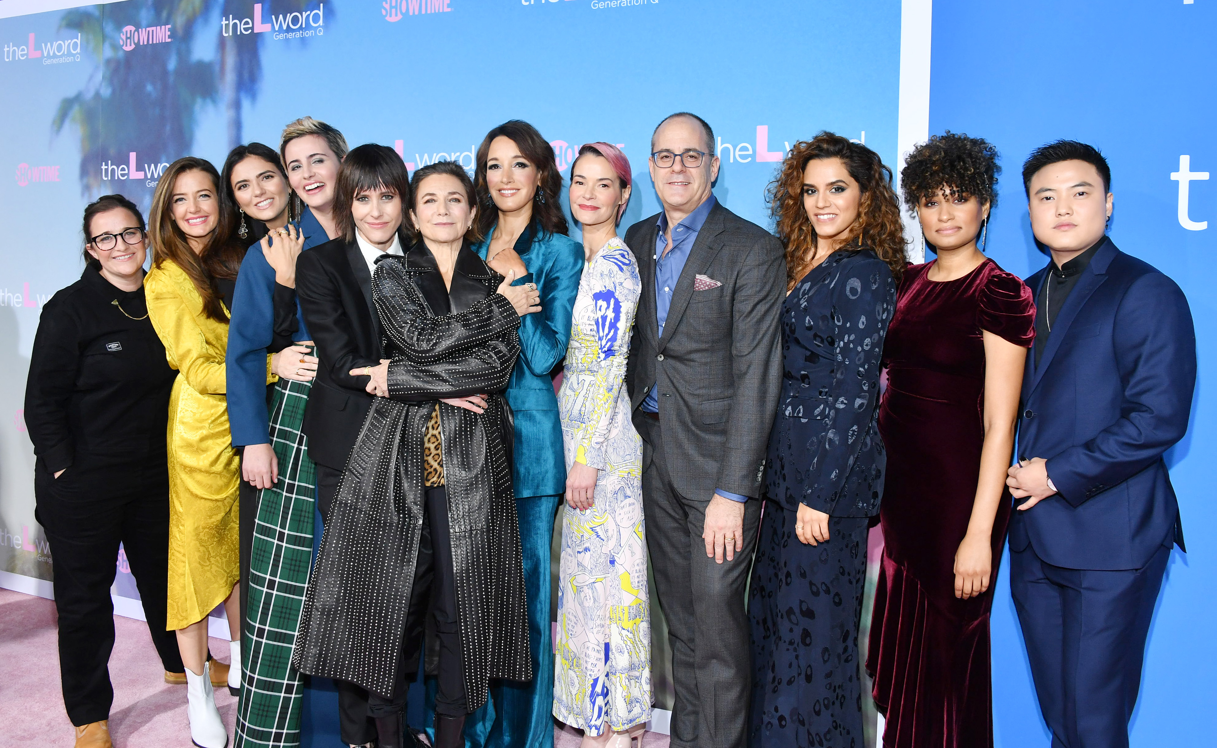 Jennifer Beals, Ilene Chaiken, Leisha Hailey, David Nevins, Stephanie Allynne, Marja-Lewis Ryan, Sepideh Moafi, Rosanny Zayas, Arienne Mandi, Jacqueline Toboni, and Leo Sheng at an event for The L Word: Generation Q (2019)