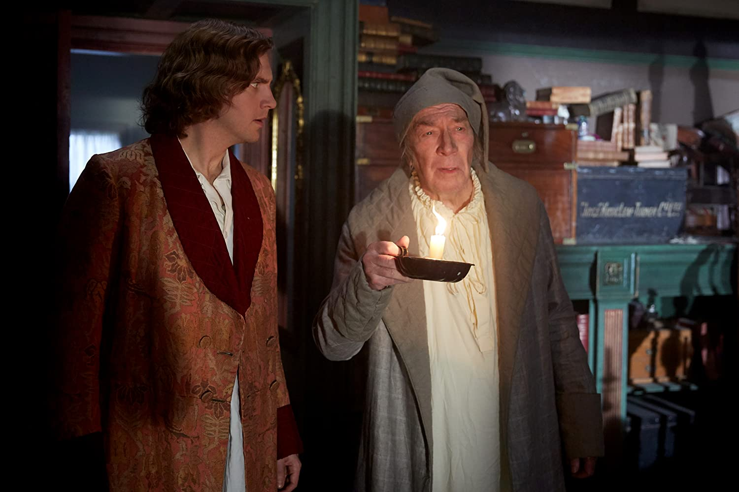 Christopher Plummer and Dan Stevens in The Man Who Invented Christmas (2017)