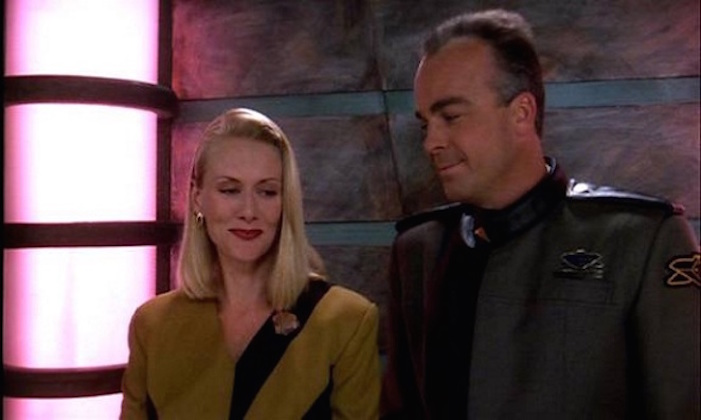 Andrea Thompson and Jerry Doyle in Babylon 5 1994