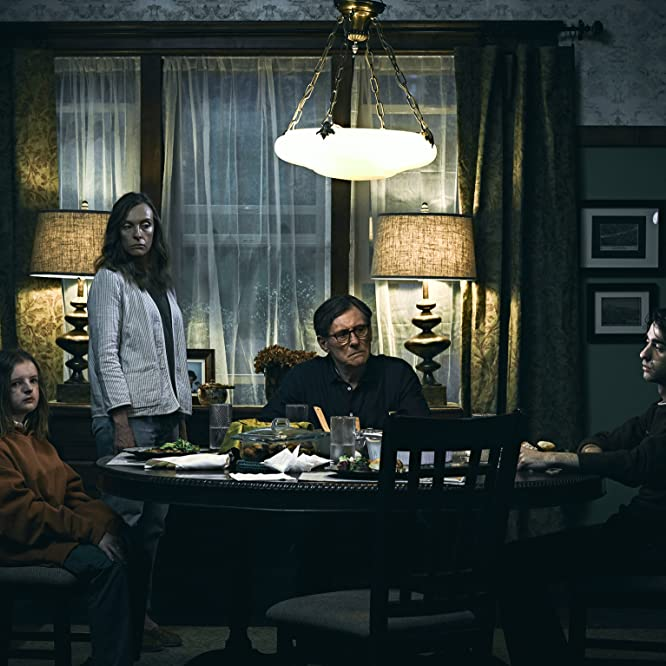 Gabriel Byrne, Toni Collette, Alex Wolff, and Milly Shapiro in Hereditary (2018)