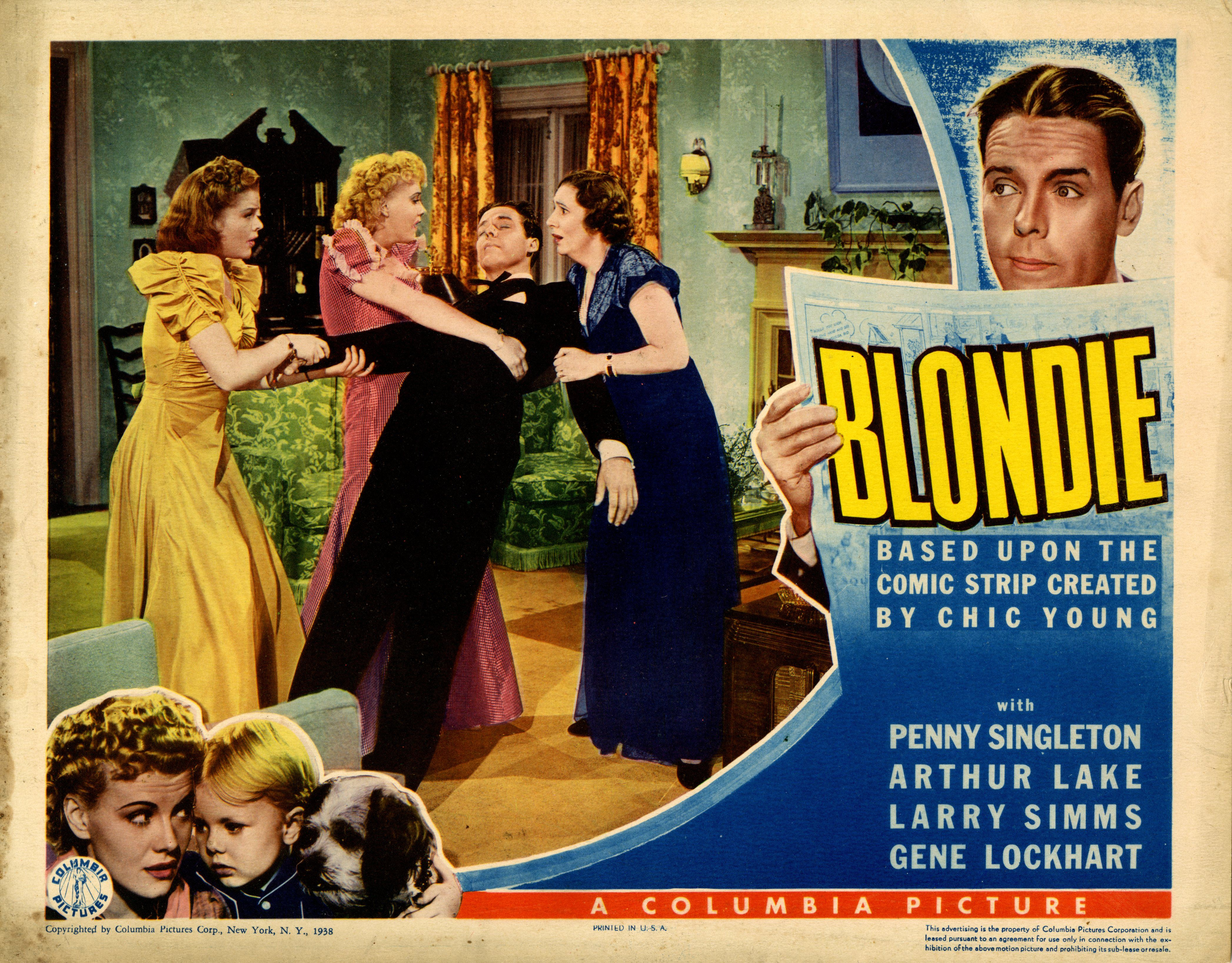 Arthur Lake, Kathleen Lockhart, Dorothy Moore, Larry Simms, and Penny Singleton in Blondie (1938)