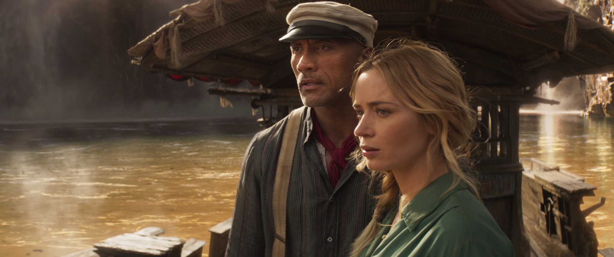 Dwayne Johnson and Emily Blunt in Jungle Cruise (2021)