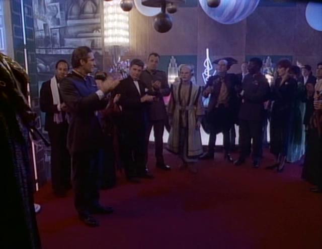 Mira Furlan, Ardwight Chamberlain, Jerry Doyle, Peter Jurasik, Michael O'Hare, Johnny Sekka, and Patricia Tallman in Babylon 5 (1993)