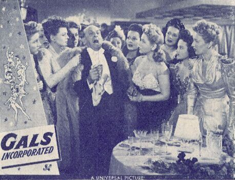 Nancy Brinckman, Maureen Cannon, Lillian Cornell, Evelyn Dockson, Leon Errol, Harriet Nelson, Betty Kean, Gwen Kenyon, Doris Linden, and Grace McDonald in Gals, Incorporated (1943)